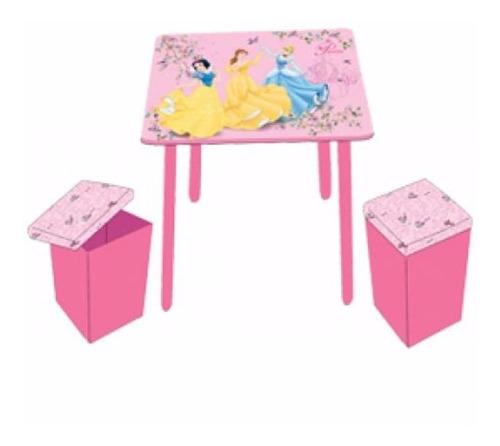 mesa de madera con 2 puffs para niños disney princesas