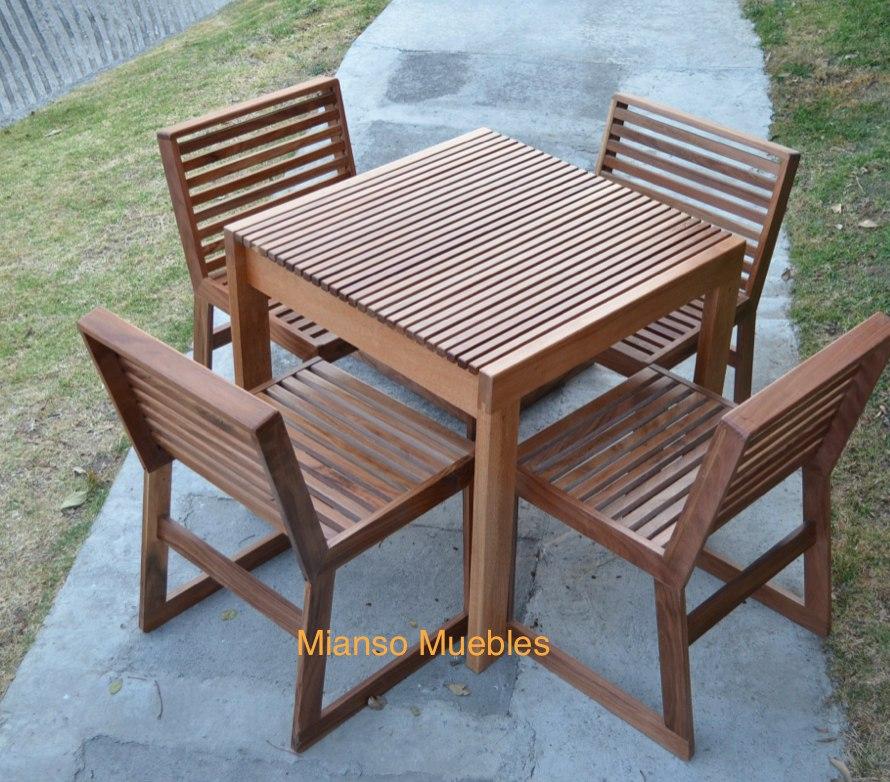 Mesa de madera con 4 sillas para restaurantes uso exterior for Silla de bebe de madera