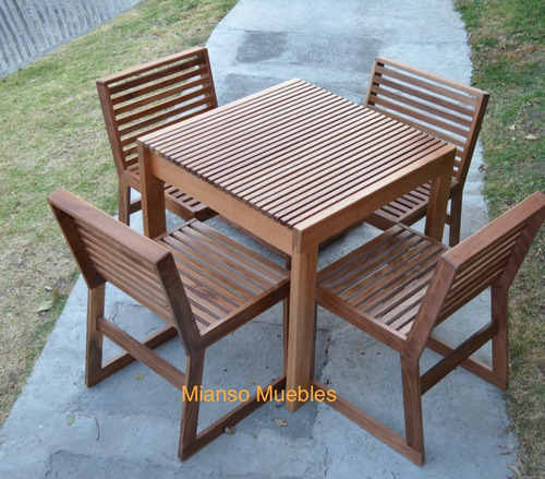 Mesa de madera con 4 sillas para restaurantes uso exterior 11 en mercado libre - Mesas de madera exterior ...