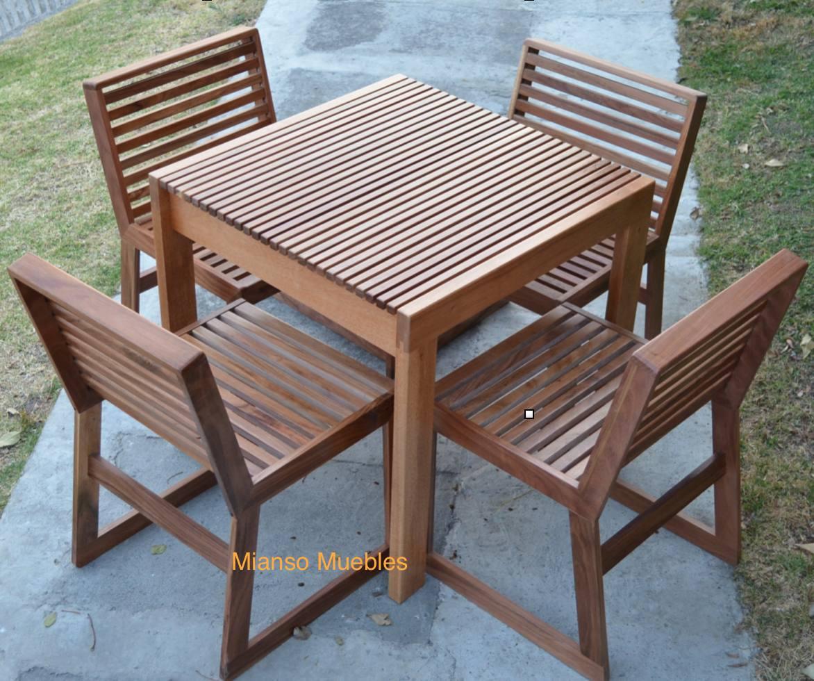 Mesa de madera con 4 sillas para restaurantes uso exterior for Mesas y sillas para jardin exterior