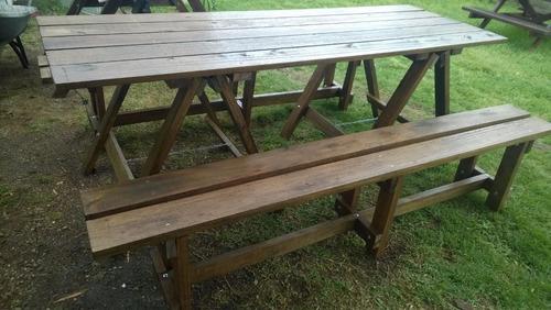 Mesa de madera con caballetes plegables y dos bancos largos en mercado libre - Mesas de madera plegables para exterior ...