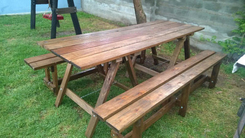 Mesa de madera con caballetes plegables y dos bancos largos en mercado libre - Mesa con caballetes ...
