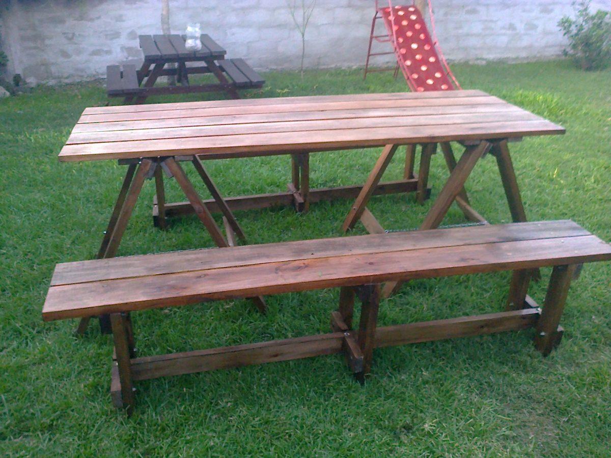 Mesa de madera con caballetes plegables y dos bancos - Mesas de madera plegables para exterior ...
