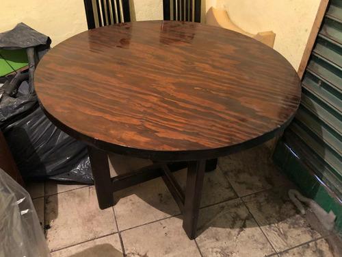 mesa de madera con cubierta de 1.10 de diametro