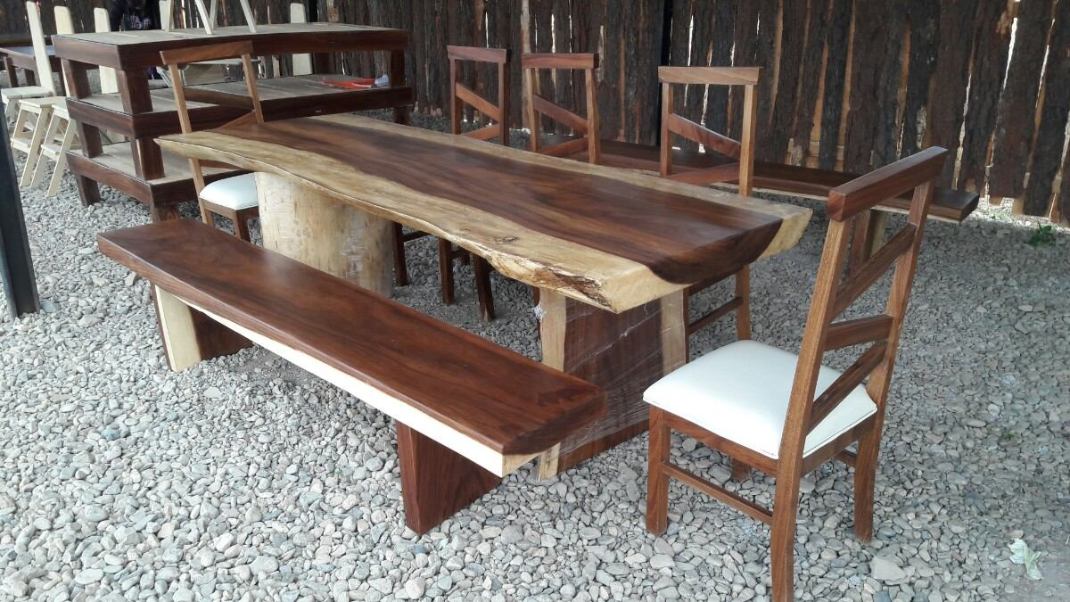 Mesa de madera de parota 32 en mercado libre for Mesas de comedor rectangulares