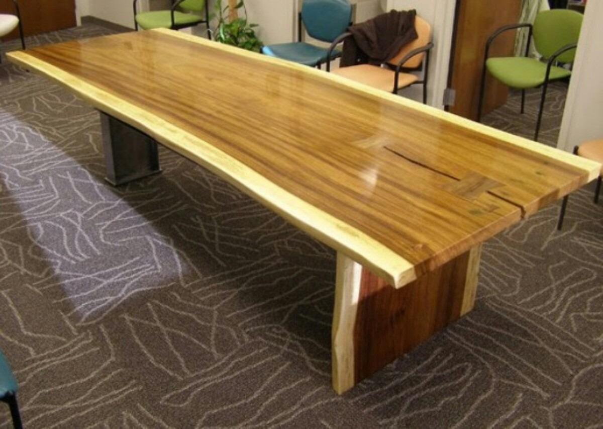 Mesa de madera de parota con base de herreria 22 900 for Bases de mesas cromadas