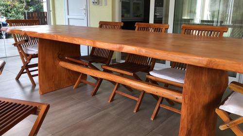 mesa de madera maciza de cipres 3 x 95 cm . tapa de 5 cm