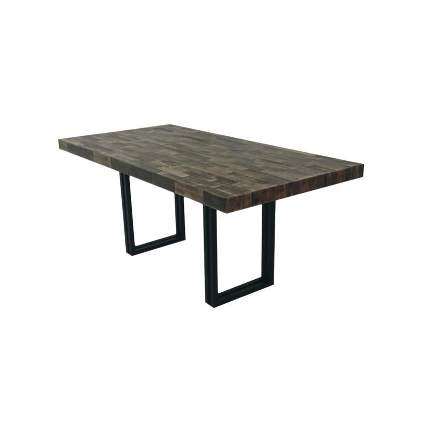 Mesa de madera pallets con base de hierro forjado for Mesas de hierro forjado y madera
