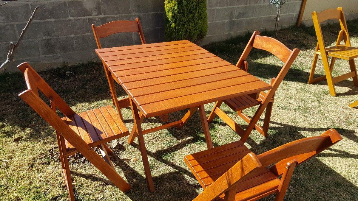 Mesa de madera para jardin plegable con sillas 2 950 - Sillas plegables jardin ...