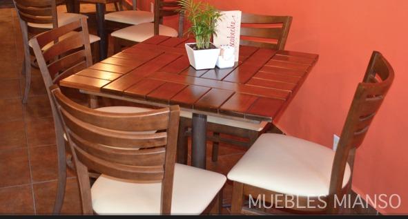 Mesa de madera para restaurantes bares y cafeterias for Mesas de madera para bar