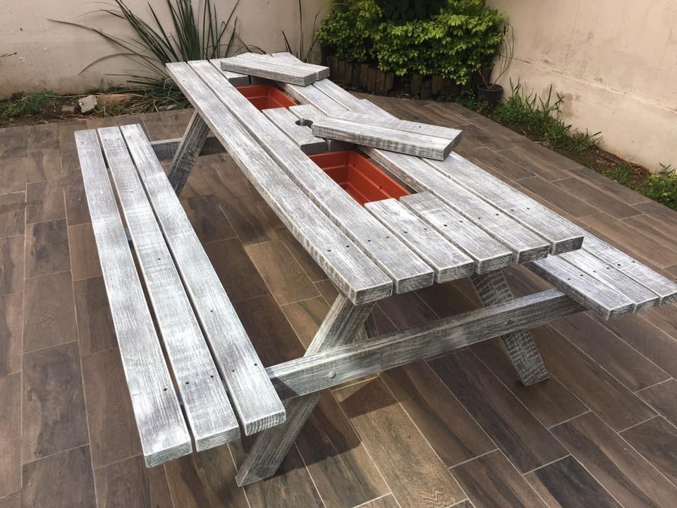 Mesa de madera picnic con hielera extrior mesas muebles - Mesa madera exterior ...