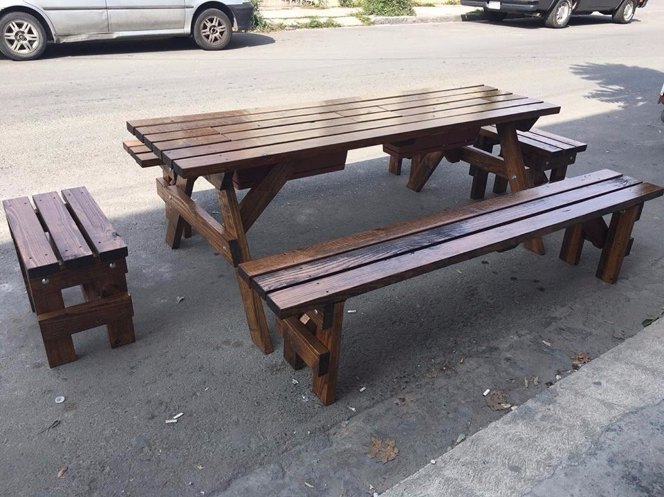 Mesa de madera picnic para exterior mesas y bancas - Mesa madera exterior ...