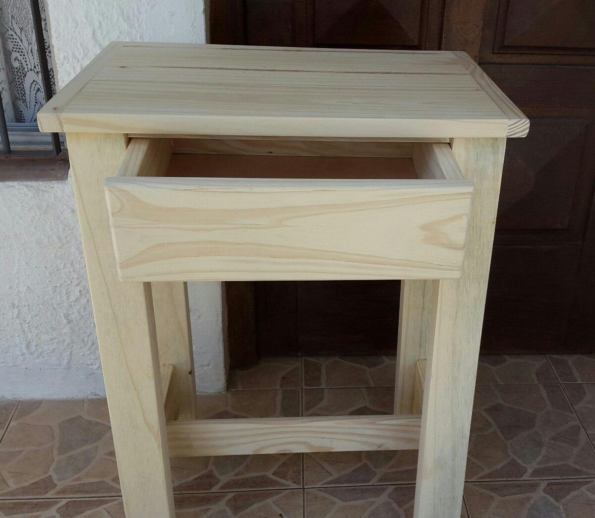 Mesa de madera pino maciza con caj n en - Mesa madera pino ...
