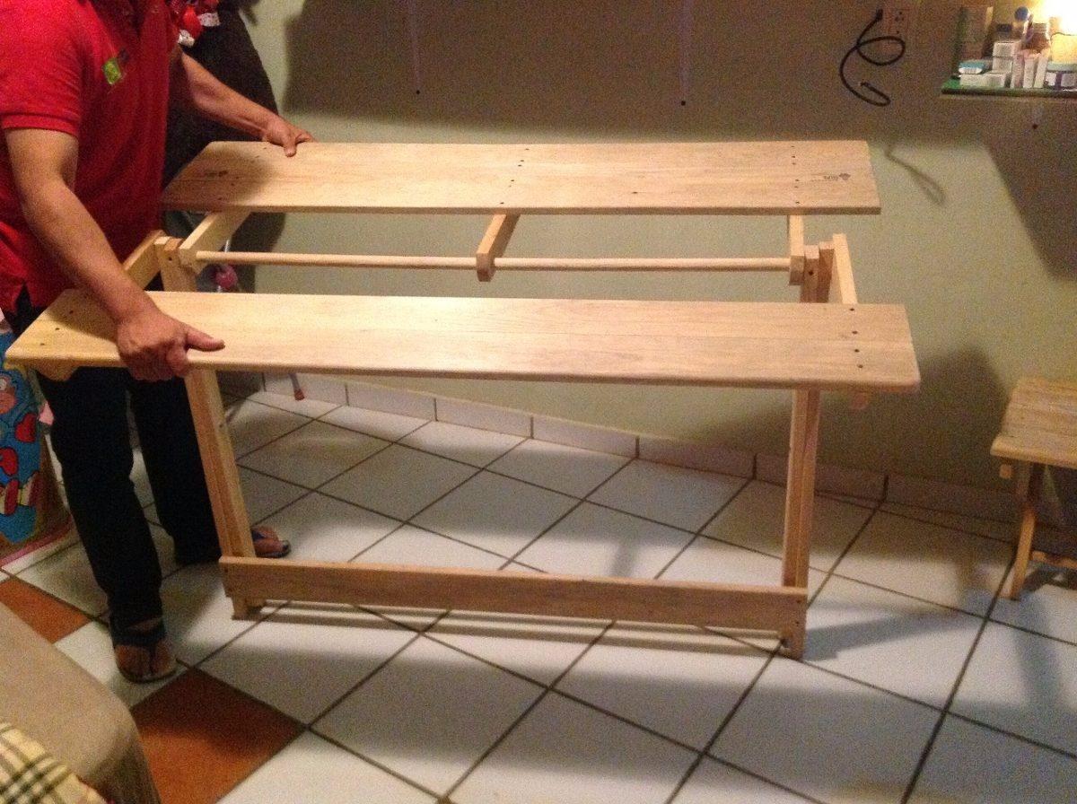 Mesa de madera plegable para comedor 1 en for Madera para mesa de comedor