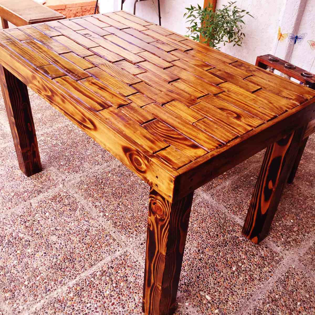 Mesa de madera rustica 150x80x75 en mercado libre for Mesas esquineras de madera