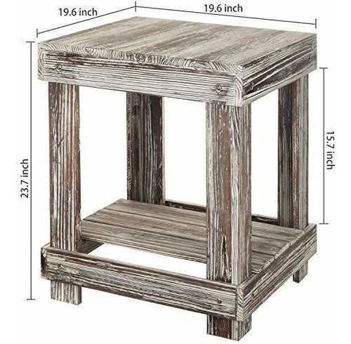mesa de madera rustica con 2 niveles