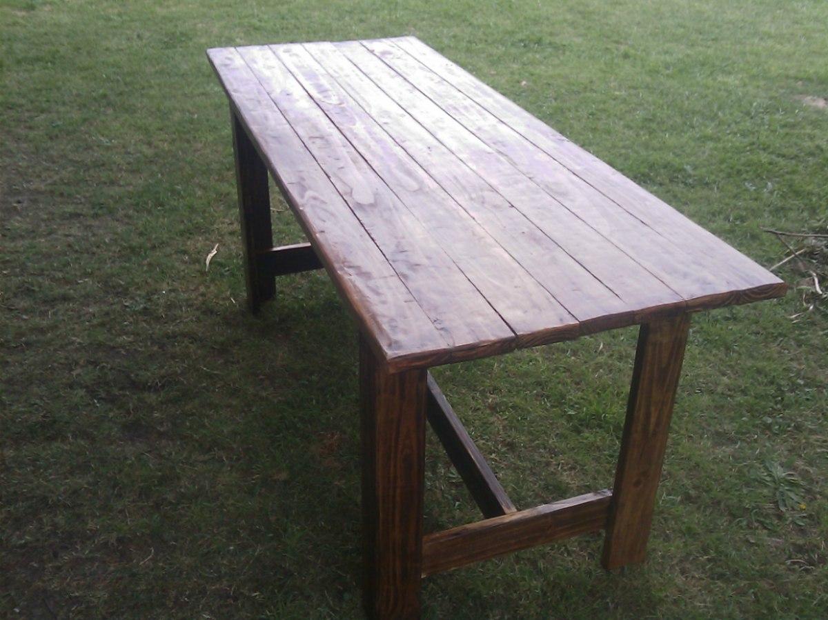 Mesa de madera rustica maciza para interior y exterior en mercado libre - Mesa rustica madera ...