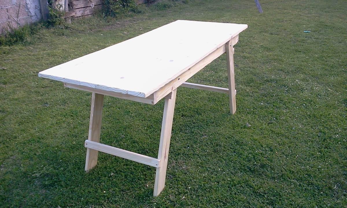Mesas de madera rustica mesa rustica quincho de madera for Mesa plegable quincho