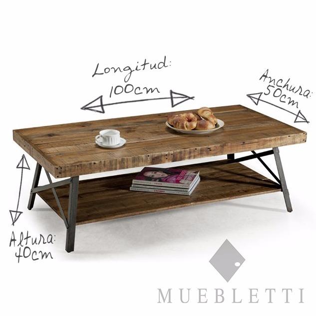 Mesa de madera solida y metal mesa de centro industrial for Mesa industrial de madera y metal