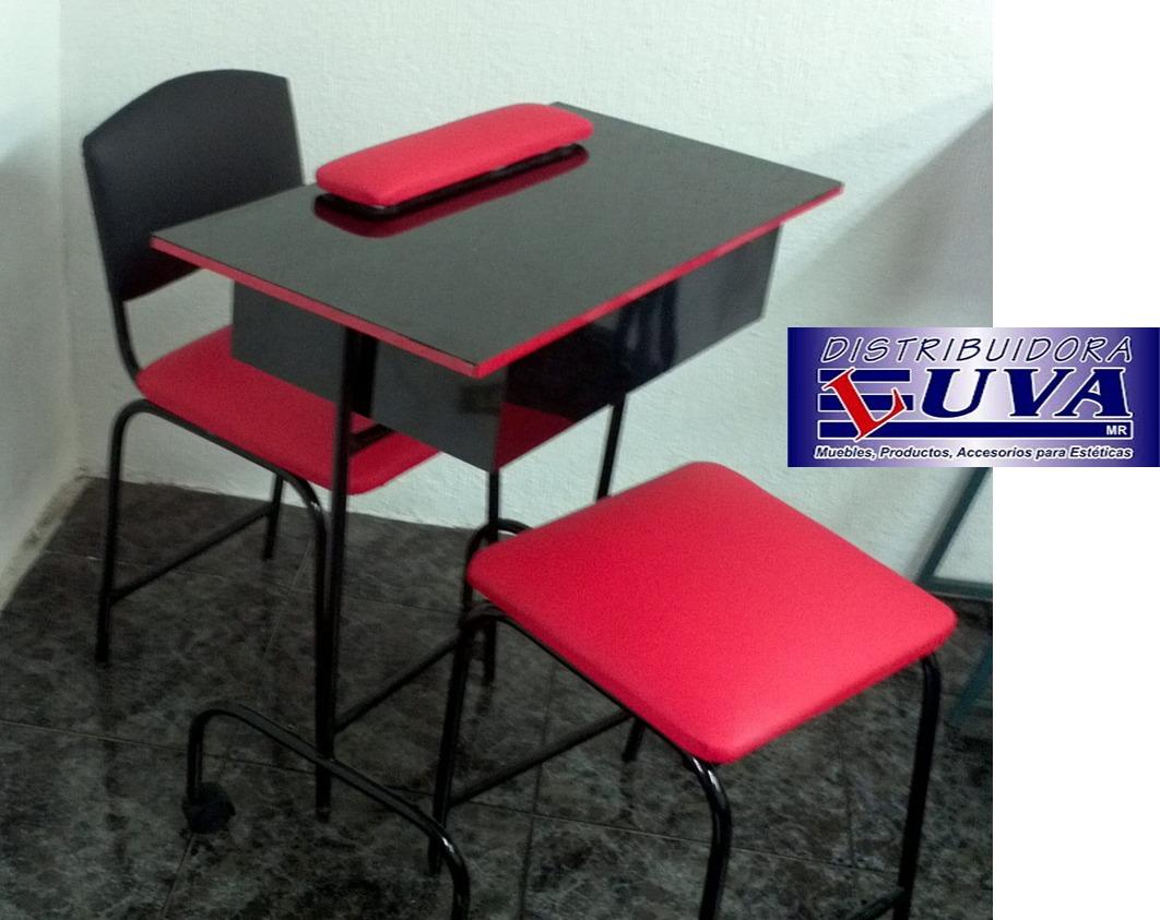 Mesa De Manicure Con Silla Y Banco 1 950 00 En Mercado Libre # Distribuidora Luva Muebles Para Estetica