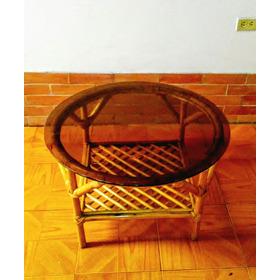 Mesa De Mimbre (excente Condicion) Vidrio Ahumado Grueso