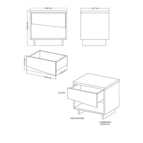 mesa de noche cajón diagonal moduart - ref: 25043-118