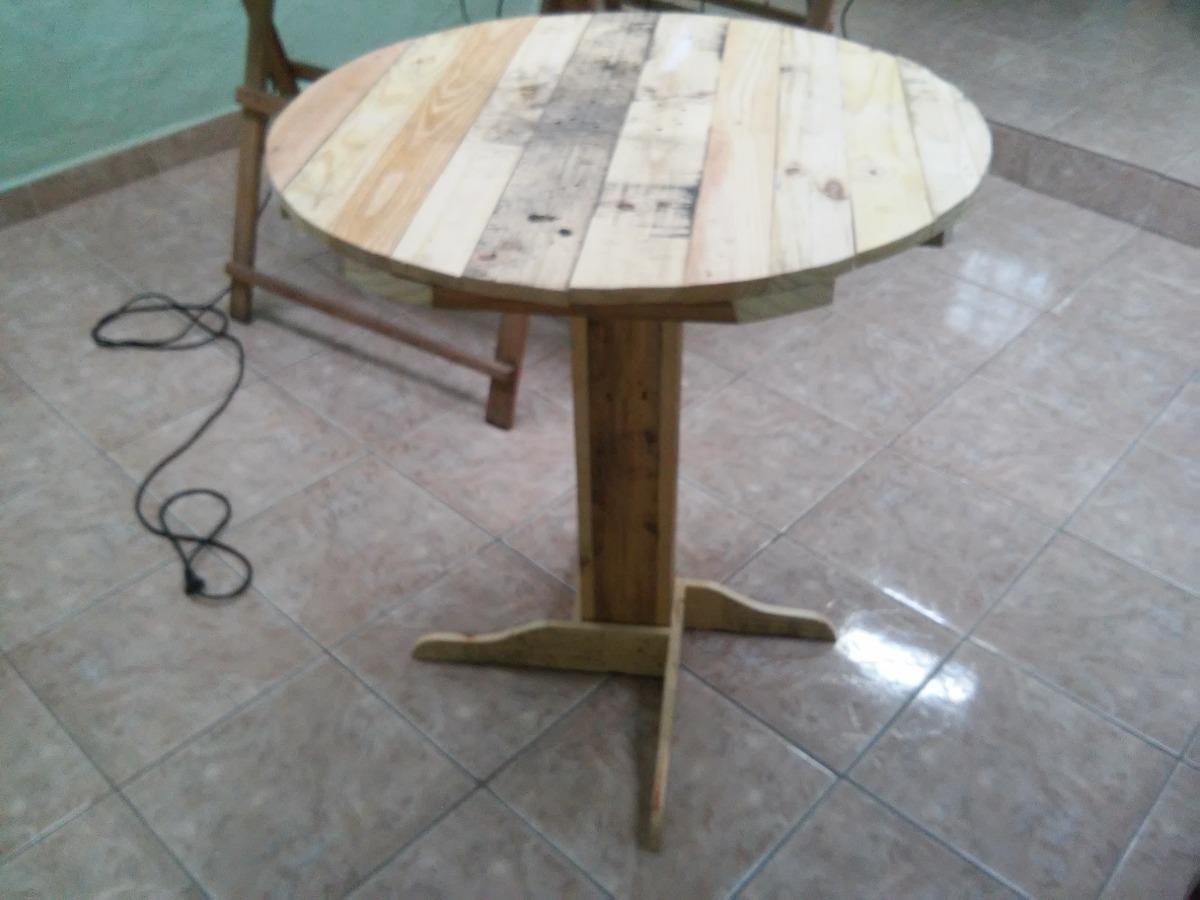 Mesa de pallet redonda r 130 00 em mercado livre for Mesa de pallet