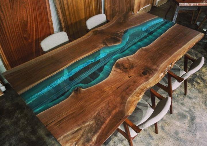 Mesa de parota con resina 26 en mercado libre - Mesas de exterior de resina ...