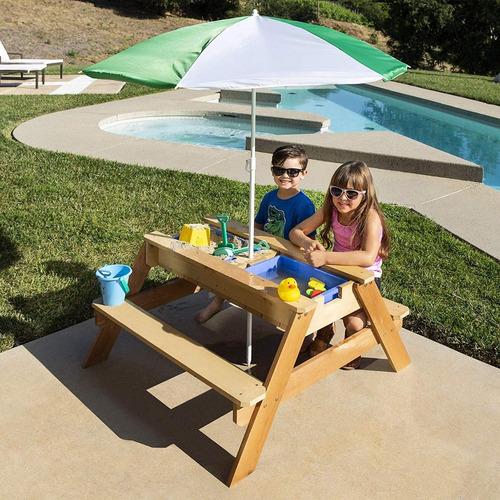 mesa de picnic-actividad para exteriores 3 en 1 y sombrilla