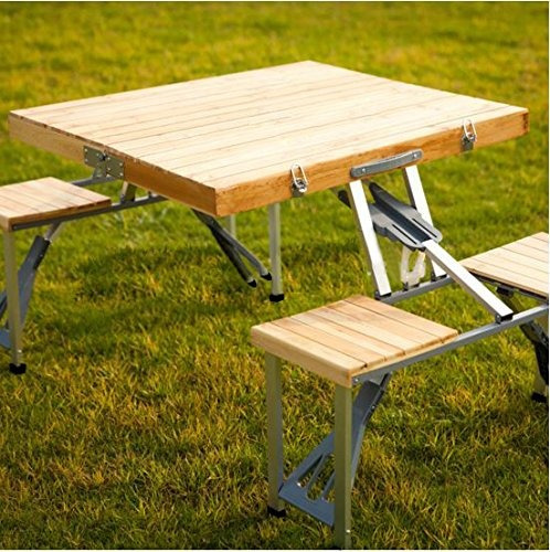 mesa de picnic de madera plegable portátil plixio con 4