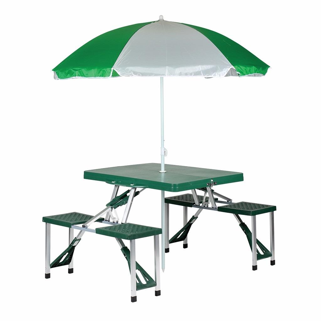 Mesa de picnic plegable con sombrilla portafolio aluminio for Mesas con sombrilla para exterior
