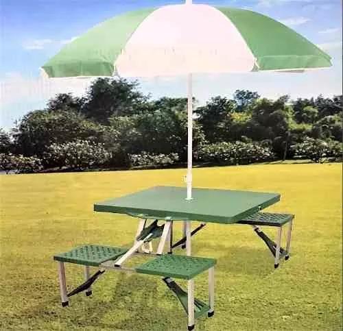 Mesa de picnic plegable con sombrilla portafolio aluminio for Mesa de playa plegable