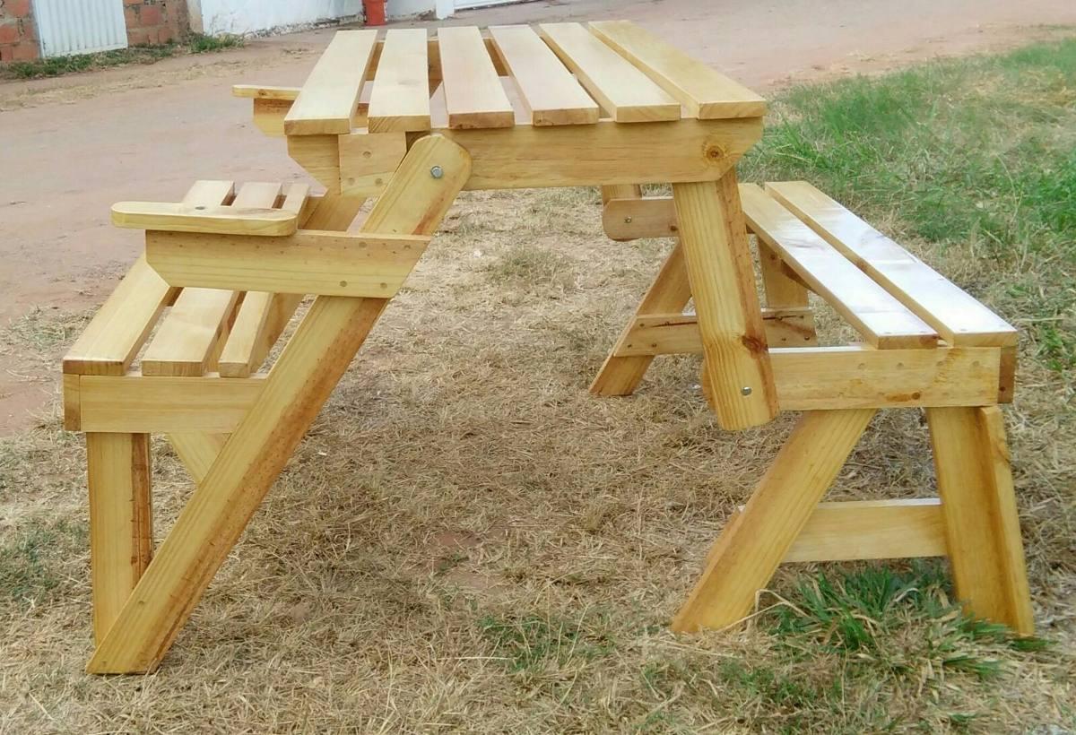 Mesa de picnic plegable en banca de madera de pino bs 1 - Mesa plegable madera ...