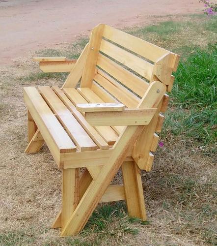 mesa de picnic plegable en banca de madera de pino