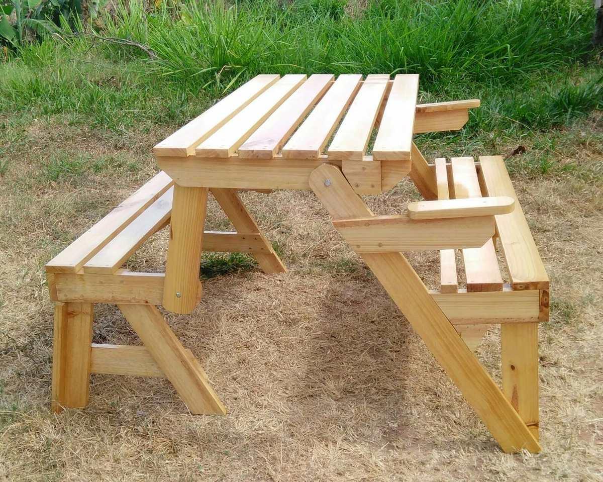 Mesa de picnic plegable en banca de madera de pino bs - Como hacer una mesa de ordenador ...