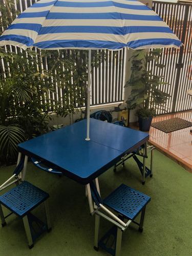 mesa de picnic plegable y portátil con sombrilla