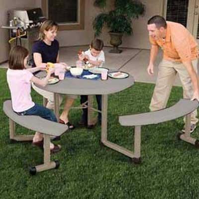 mesa de picnic redonda 1.8 mts lifetime bancas incluidas