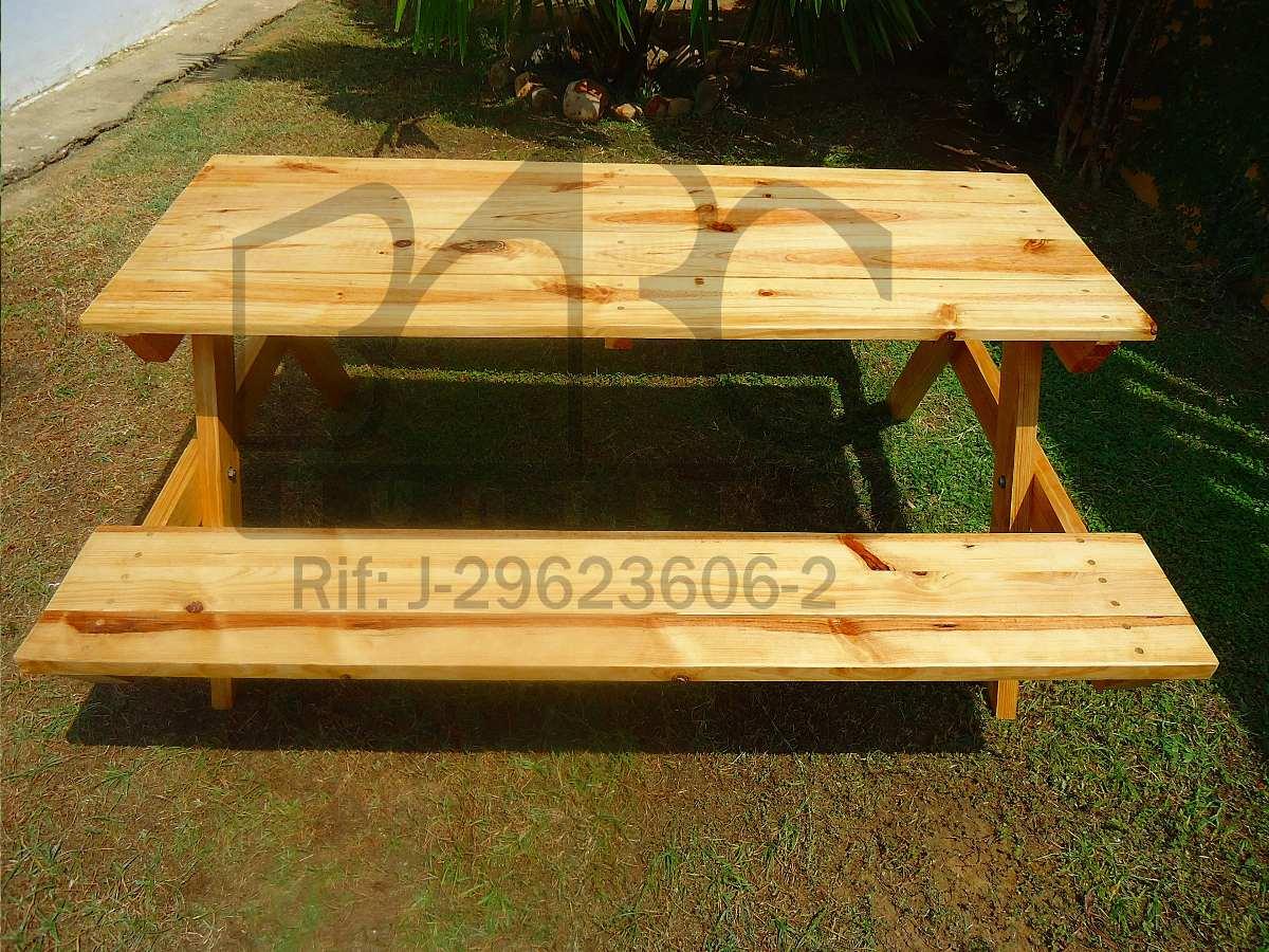 Mesa de picnic tipo americana de madera de pino bs 299 for Mesa de picnic madera