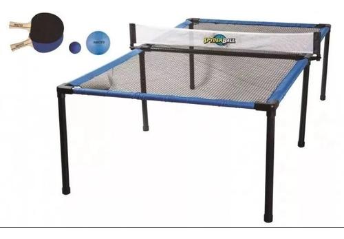 mesa de ping ping spyderball interior/exterior con raquetas.