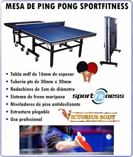 mesa de ping pong profesional 16 mm sportfitness +2 raquetas
