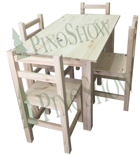 mesa de pino 120 x 70 + 4 sillas reforzadas - pinoshow