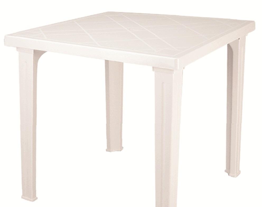 Mesa de plastico fram cuadrada blanca en for Mesas de jardin de plastico