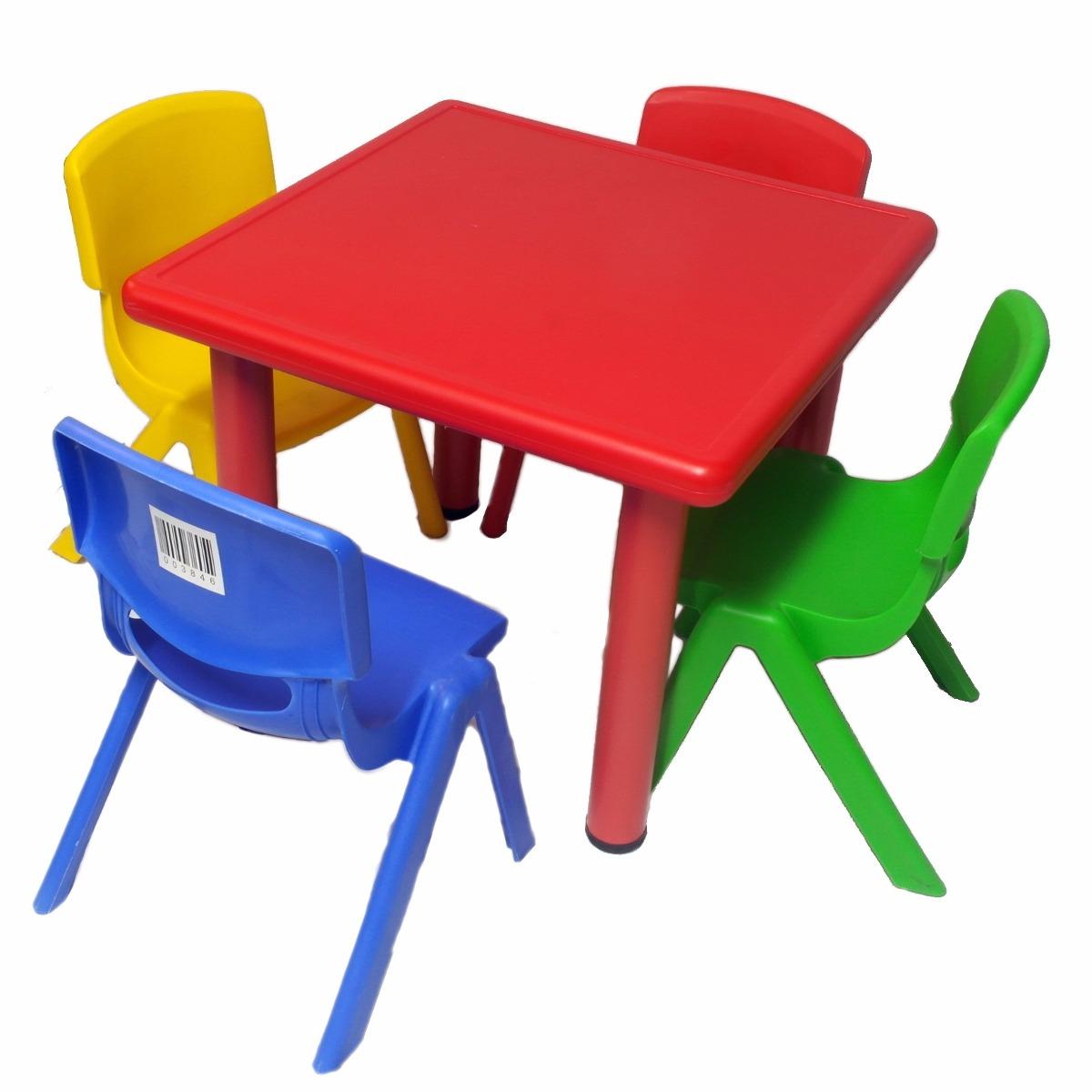 Mesa de pl stico para ni os 4 sillas varios colores u for Medidas sillas ninos