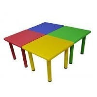 mesa de polipropileno, plástico, metal infantil