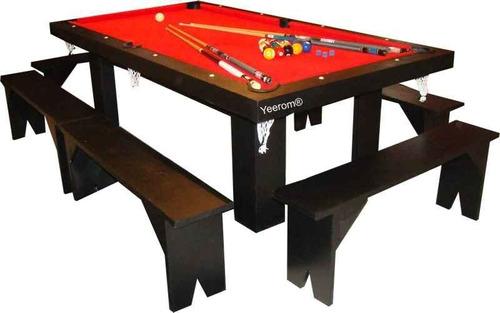 mesa de pool 240 comedor y ping pong + 4 bancos + kit oferta