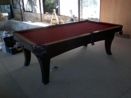 mesa de pool en madera maciza con pizarra de piedra española