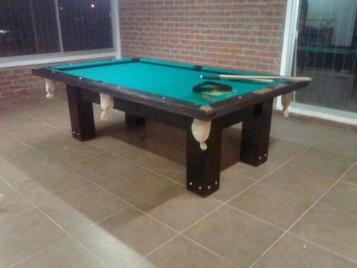 mesa de pool en madera maciza roble con detalles en bronce