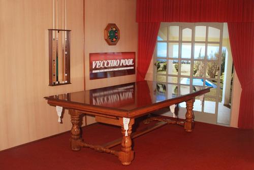 mesa de pool modelo country patas torneadas con tapa