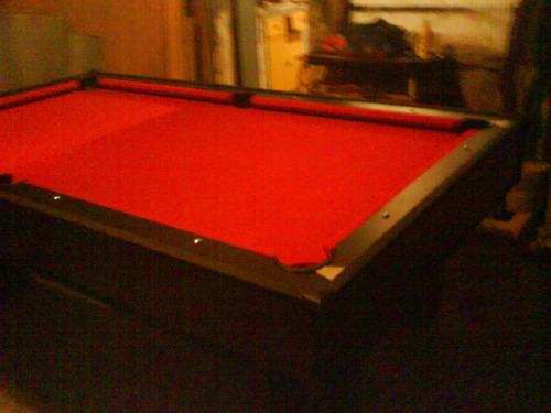 mesa de pool nueva profesional paño bordo completa
