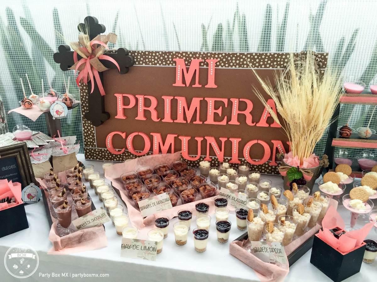 Mesa de postres para bautizo comunion boda xv a os for Mesas dulces para comunion